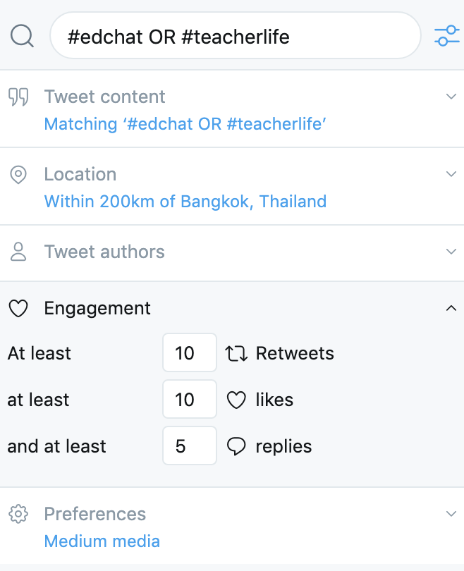 Teachers can use Tweetdeck Engagement rankings to highlight key topics on Twitter